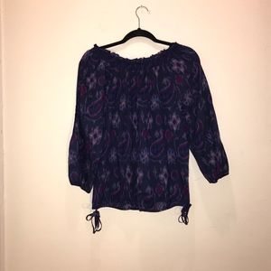 Lucky Brand Off the should Ikat Paisley top.